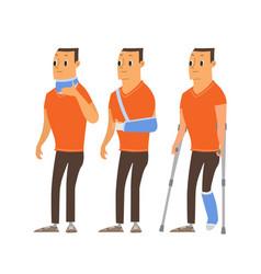 Injured man in plaster cast cartoon vector