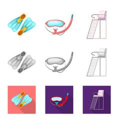 Isolated object of pool and swimming symbol set vector