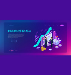 Isometric business-to-business sales businessmen vector