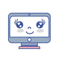 kawaii cute happy screen monitor vector image