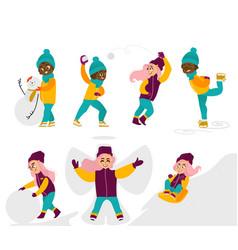 kids children girls doing winter activities vector image