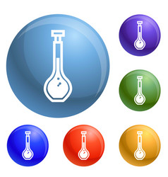 laboratory glass icons set vector image