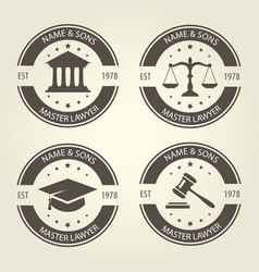 Lawyer bureau emblems and labels vector