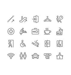 Line public navigation icons vector