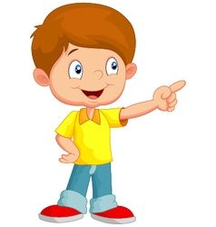 Little boy pointing away vector image