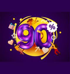 Mega sale 90 percent discount special offer vector