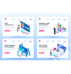 Menu for homepage set of templates vector