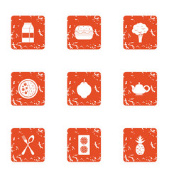 Multiple food icons set grunge style vector