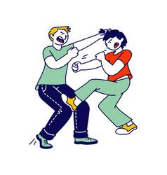 Naughty hyperactive children fighting couple vector