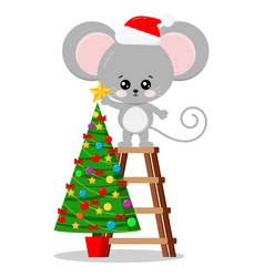New year symbol cartoon character cute mouse in vector