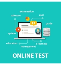 online test exams quiz with computer laptop vector image