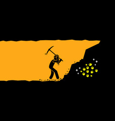 Person worker digging and mining for gold in an vector
