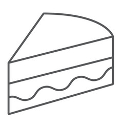 piece of cake thin line icon sweet and food vector image