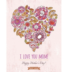 Pink Mothers Day card with big heart of flowers vector image