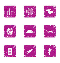 Recess icons set grunge style vector