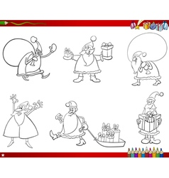 santa claus set coloring page vector image