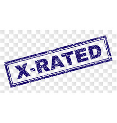 Scratched x-rated rectangle stamp vector