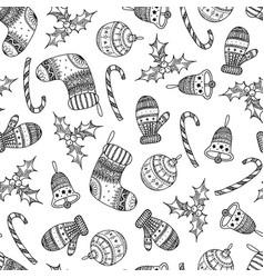 seamless pattern of black christmas symbols vector image