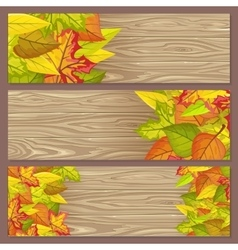 Set of Autumn Sale Flyers on Wooden Background vector