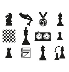 Set of icons on the chess theme vector image