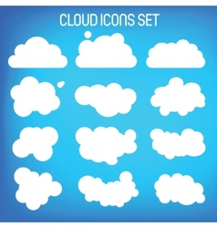 Set twelwe flat-styled clouds vector