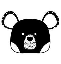 Silhouette cute bear head wild animal vector
