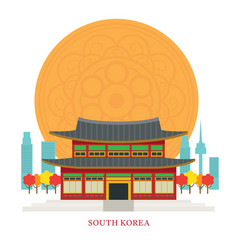 south korea landmarks with decoration background vector image