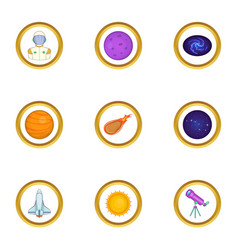 Space search icons set cartoon style vector