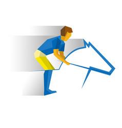 Sportsman riding a horse equestrian sport vector