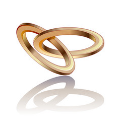 Stylized love two intertwined wedding rings vector