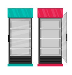 Supermarket refrigerator set flat vector