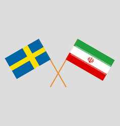 The iranian and swedish flags vector