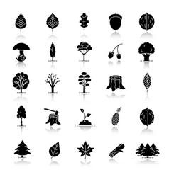 Tree types drop shadow black glyph icons set vector