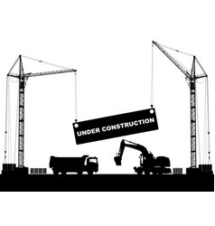 under construction concept at building site with vector image