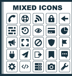 User icons set collection of origami eye vector