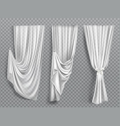 White window curtains on transparent background vector