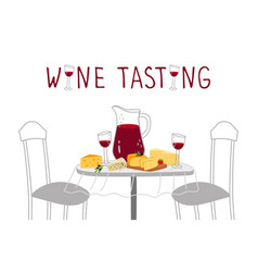 wine tasting poster red wine cheese vector image