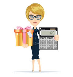 Woman holding an electronic calculator and gift vector
