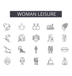 woman leisure line icons for web and mobile design vector image