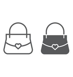 women bag line and glyph icon girl and purse vector image