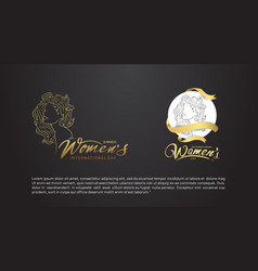 Women day design gold color with woman silhouette vector