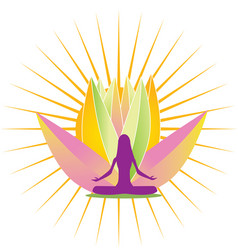 Yoga shine and pink lotus flower logo vector