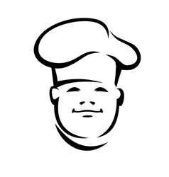Face of a smiling chef in a toque vector