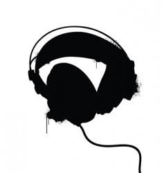 headphones silhouette vector image vector image