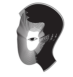 Repeat line of man head with black eye vector image vector image