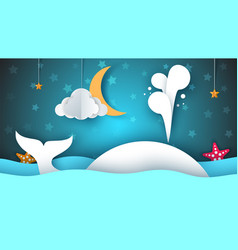 whale sea star sky moon - paper cartoon vector image vector image