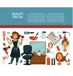woman hairdresser beauty salon poster flat design vector image vector image