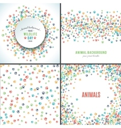 Background with paw prints Set of patterns vector image vector image