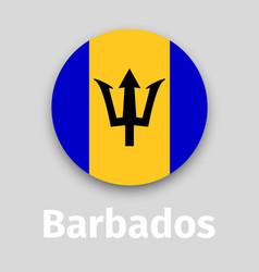 barbados flag round icon vector image