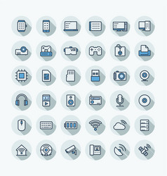 flat color thin line icons set with digital vector image vector image